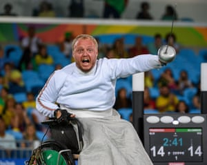Andrei Pranevich of Belarus wins the gold medal beating Ammar Ali of Iraq in the men's individual wheelchair fencing ƒépée category B