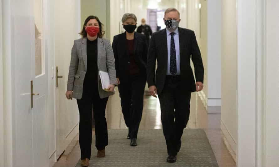 Labor leader Anthony Albanese (right) with Senate Labor leader Penny Wong (middle) and newly sworn-in member for Eden-Monaro Kristy McBain in Parliament House on Tuesday.