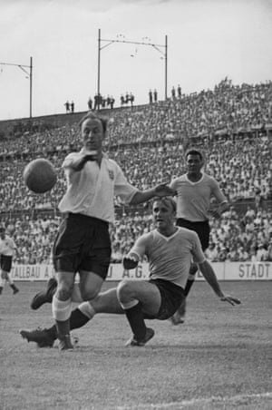 Ivor Broadis, left, playing for England against Uruguay in the World Cup quarter final of 1954.