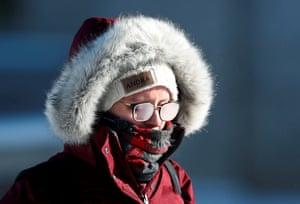 A student's glasses fog in subzero temperatures at the University of Minnesota in Minneapolis