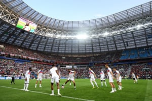 A general view inside the Luzhniki Stadium as England players warm up.