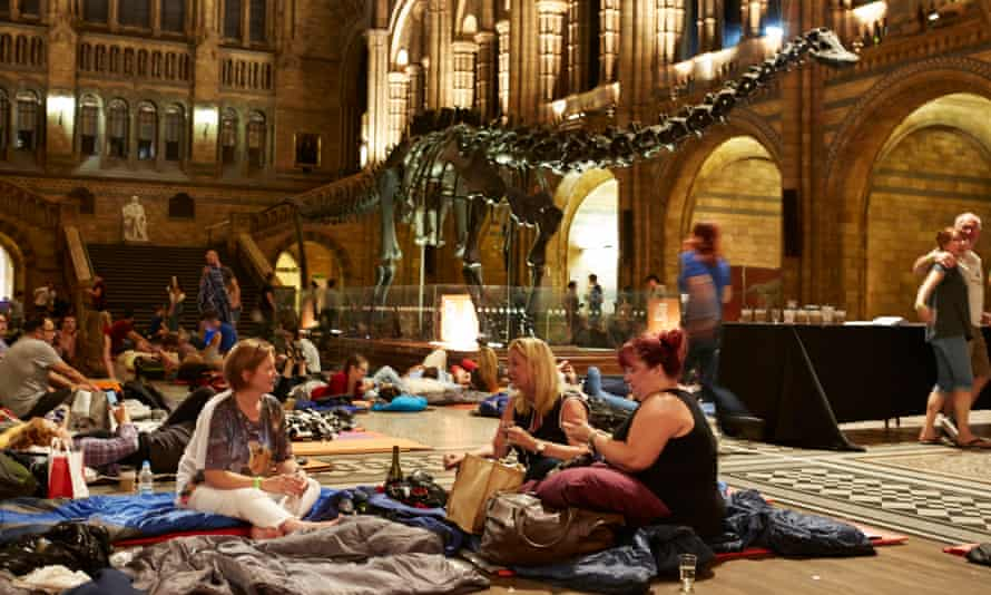 Dippy and friends at the Natural History Museum's all-night Dino Snore event