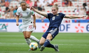 Kim Little of Scotland up against England's Fran Kirby during the Women's World Cup.