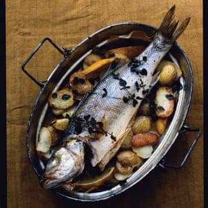 Sea bass with lemon potatoes.