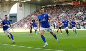 Harvey Barnes celebrates scoring Leicester's second goal against Sheffield United.