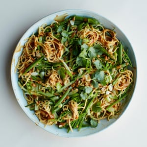 A fiery bowl: Anna Jones's peanut and cucumber noodles.