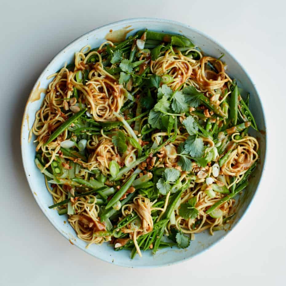 A fiery bowl: Anna Jones's peanut and cucumber noodles.