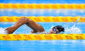 Anastasia Pagonis of USA on her way to winning the women's S11 400m freestyle with a new world record time of 4:54.49.
