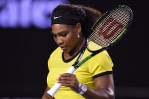 Serena Williams loses the first set with 23 errors.