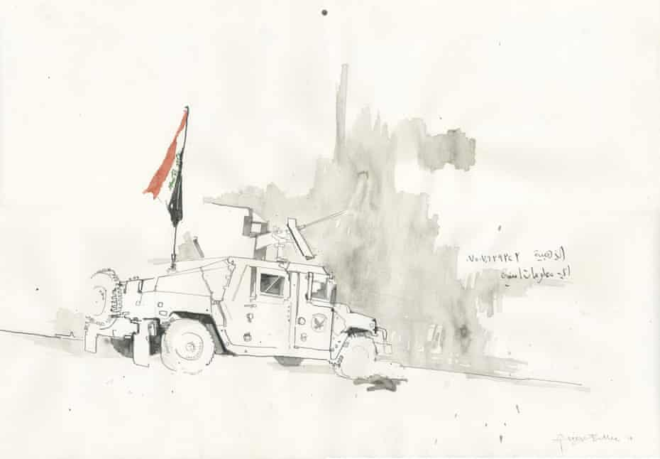 An Iraqi special forces Humvee parked in west Mosul, in one of the illustrations by George Butler.