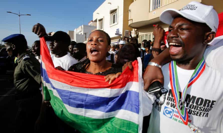 Supporters of Adama Barrow celebrate his inauguration in Dakar.