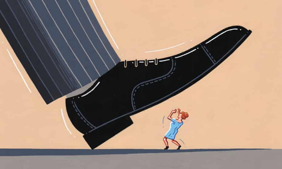 Illustration, of great big brogue shoe stamping down on little person, by Jasper Rietman