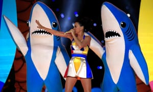 Katy Perry performing at the Super Bowl half time show, 2015