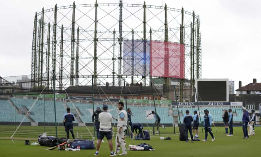 The India team during a nets session at the Oval in preparation for the fourth Test against England.