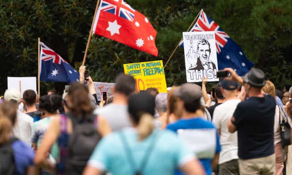 Anti-vaccination protesters in Fawkner Park, Melbourne.