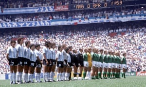 The Argentina and West Germany teams line up before the 1986 World Cup final.