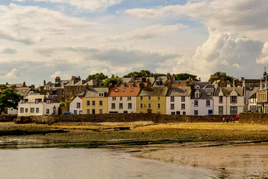 Arbroath, the beach and houses, Scotland, UK.