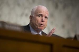 John McCain speaks on Capitol Hill.