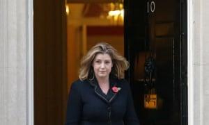 UK's international development secretary, Penny Mourdant, leaving 10 Downing Street