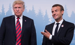 Donald Trump (left) and Emmanuel Macron in Canada earlier this month.