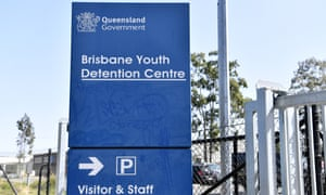 A signs at the entry to the Brisbane Youth Detention Centre in Brisbane. A worker at the centre tested positive to Covid-19 last week.