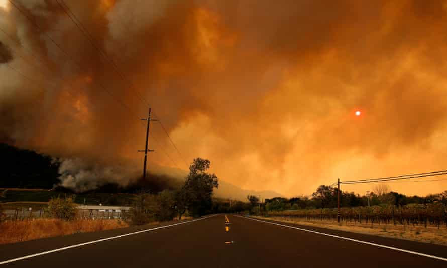 Wildfire moves through Napa Valley in California on 10 October 2017.