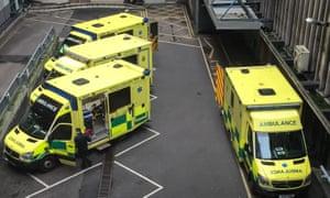 Ambulances wait outside Bristol Royal Infirmary's A&E department.