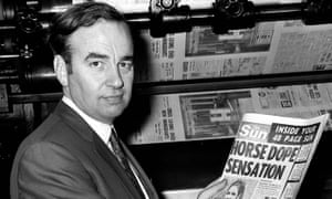 Rupert Murdoch with the first issue of the Sun in 1969