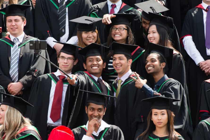 Overseas students on graduation day at Aberystwyth University.