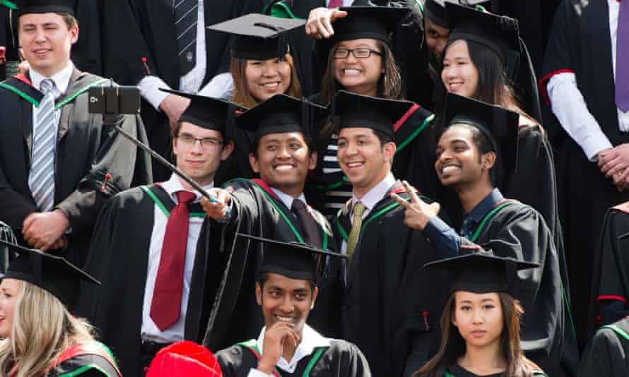 Students on graduation day at Aberystwyth University in Wales