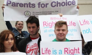 Pro-choice and anti-abortion campaigners at a rally in Belfast.