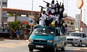 People celebrate in Brusubi, Gambia.