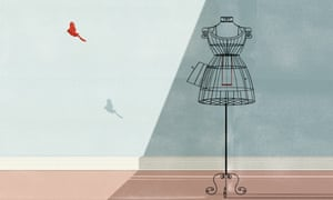 Illustration of red bird flying out of wire mannequin