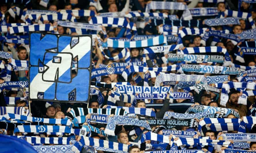 Dynamo Kyiv fans at their team's Champions League tie against Chelsea