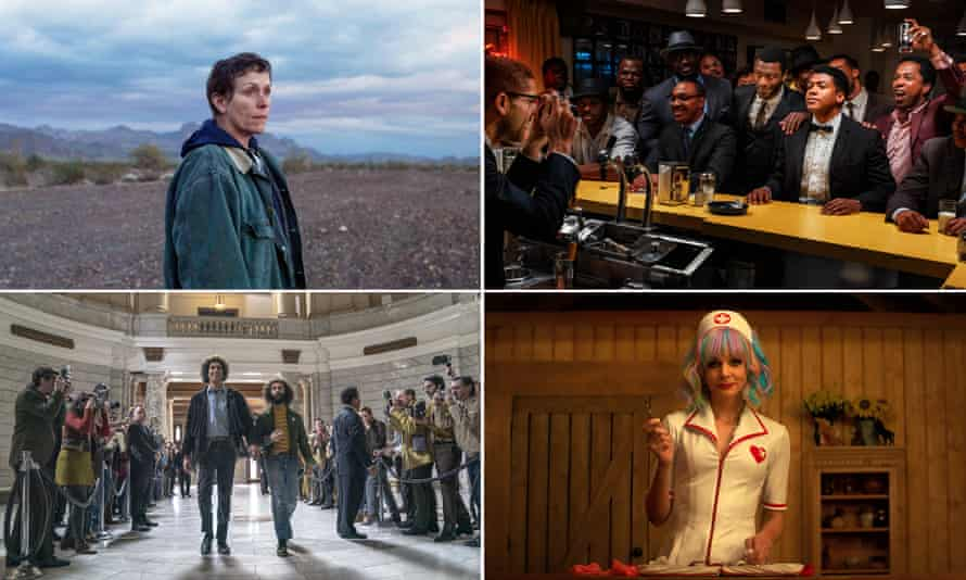 Clockwise from top left, Bafta longlist nominations Nomadland; One Night in Miami; Promising Young Woman; The Trial of the Chicago 7