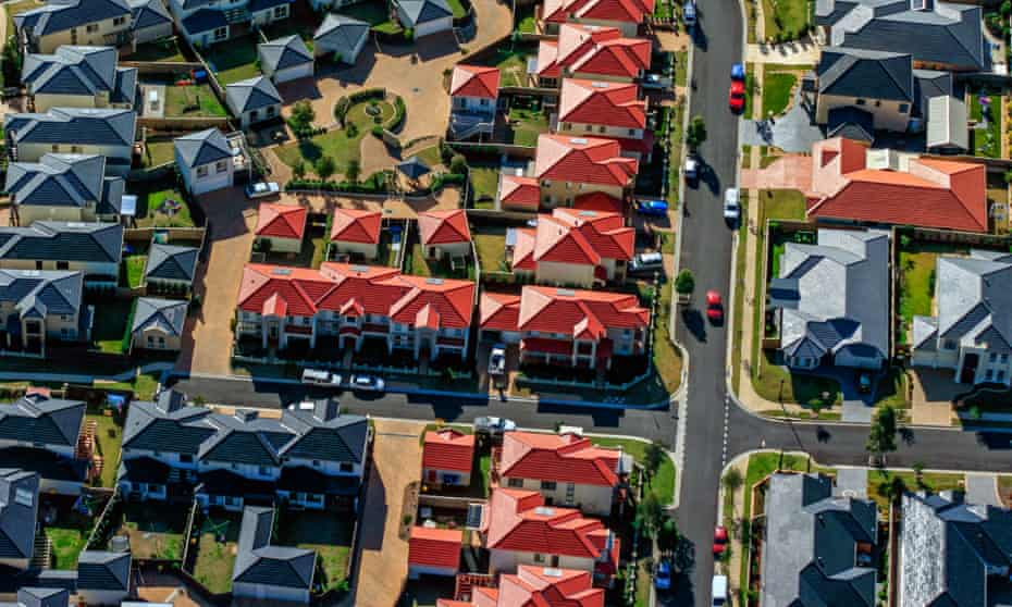 Aerial image of houses in the western suburbs of Sydney