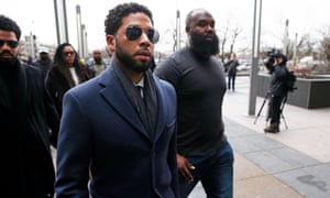 Jussie Smollett arrives at a courthouse in Chicago, Illinois on 14 March.