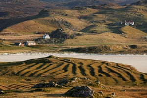 Lazy bed fields, or rigs, at Timsgearraidh, overlooking Ardroil beach, Traigh Uige, Eadar Dha Fhadhail, Uig District.