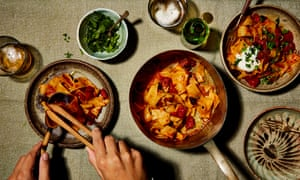 Yotam Ottolenghi's pappardelle with rose harissa, black olives and capers