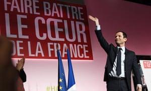 Benoît Hamon waves at a public meeting in Marseille