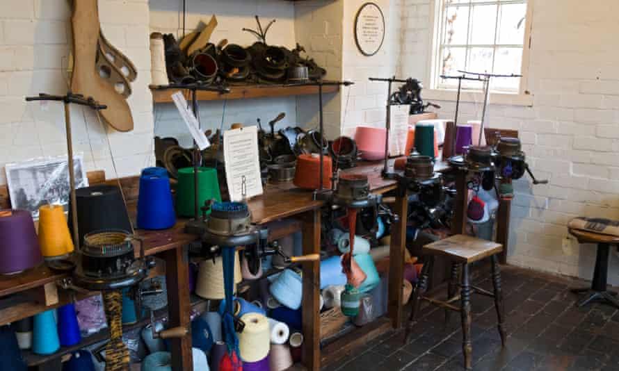 The sock knitting room at the Framework Knitters Museum