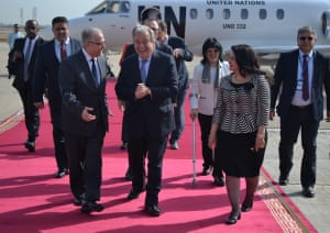UN secretary general António Guterres is welcomed by dignitaries at Baghdad International Airport