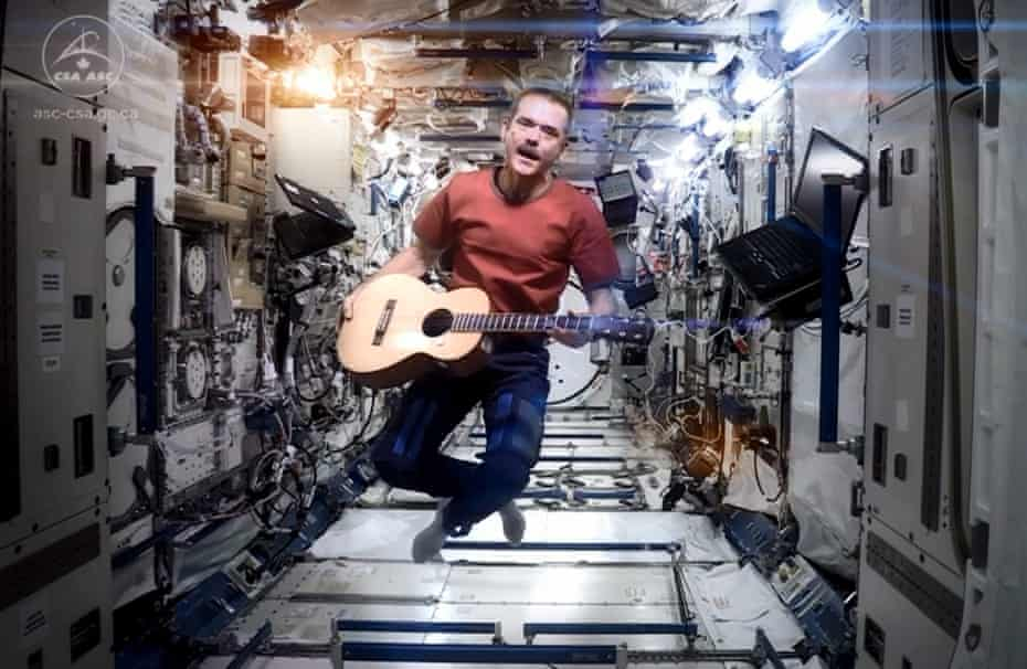 Chris Hadfield performing Space Oddity on the International Space Station.