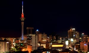 Auckland's Sky Tower is lit in the colours of the French flag in honour of the victims of the attacks in Paris