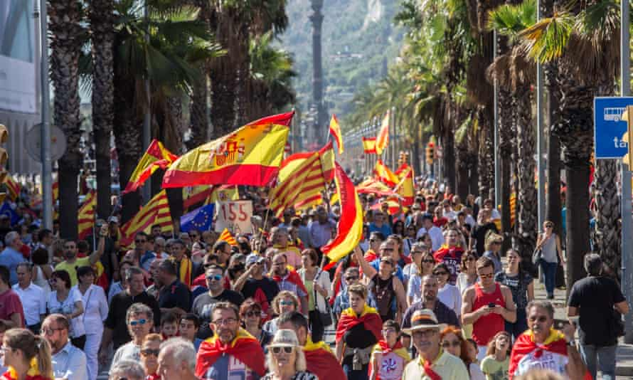 An anti-independence protest in Barcelona on Sunday.