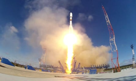 Launch of a Russian Kosmos military satellite from the Plesetsk Cosmodrome.