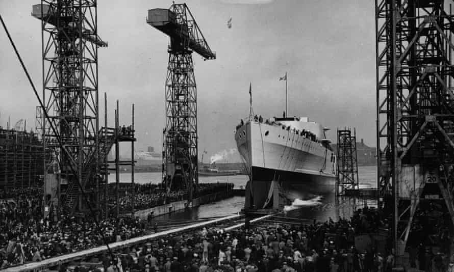The launch of HMS Belfast from Harland and Wolff's shipyard in March 1938.