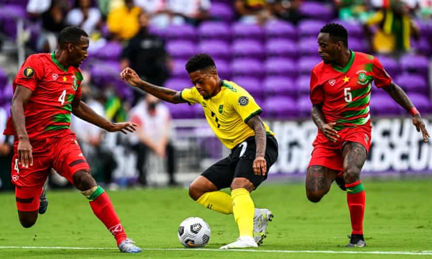 Leon Bailey in action for Jamaica against Suriname.