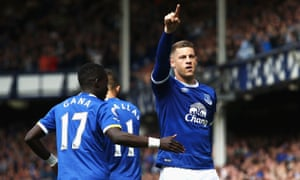 Ross Barkley celebrates after scoring the opener for Everton.