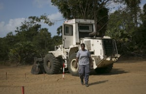 Chandran Tharani leaves her de-mining vehicle
